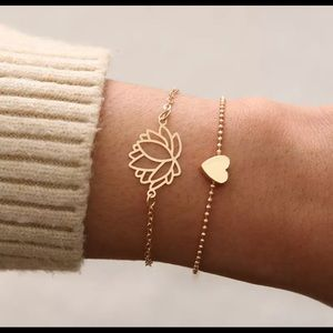 Gold lotus flower heart chain bracelet set new